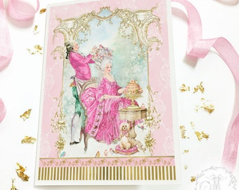 Pink Christmas, Marie Antoinette, French coiffure Christmas card, holiday card, Rococo, Baroque