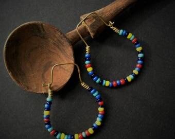 New!! Multicoloured Boho Beaded Hoops - Small - 4 cm long