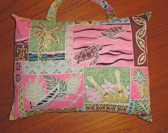 South Seas Hawaiian Design Travel Pillow with Handle Pink