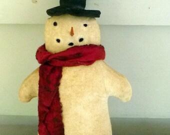 Primitive Snowman tuck ornament