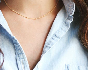 Satellite Beaded Chain Layering Choker Necklace - 14k Gold Filled | Sterling Silver
