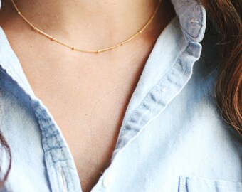 Satellite Beaded Choker Necklace | 14k Gold Filled Necklace | Sterling Silver Necklace | Layer Necklace | Fine Gold Choker