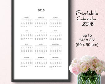Large Minimalist Wall Calendar 2018 Black & White Printable Yearly Office Calendar, Scandinavian Typewriter Style, Digital Download 24x36 A1