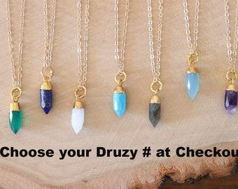 Spear Gemstone Necklace, Purple Necklace, Blue Spear Pendant, Gold Plated, Amethyst, Jade, Quartz, Lapis, Blue Pendant, Layer Necklace