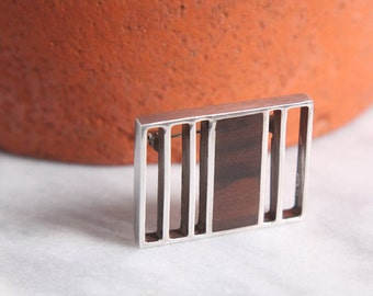 sterling + rosewood modernist brooch mid century modern silver pin 1960s