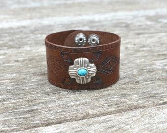 Southwestern  Cuff Bracelet, Southwestern Bracelet, Tooled Leather Cuff, Western Bracelet, Boho Bracelet, Statement Bracelet, Made in Canada
