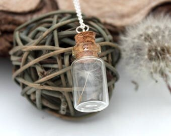 Dandelion clock seed glass vial necklace- Last wish - Great spring gift jewellery- wholesale and wedding favour discounts available