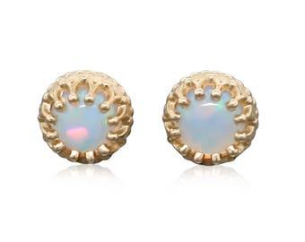 14k Gold Opal Stud Earrings • Gold Opal Earrings Gift for Her • Opal Jewelry Gift for Women