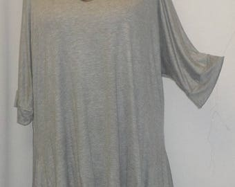 Womens Plus Size Top, Coco and Juan, Lagenlook, Plus Size Tunic, Gray,, Rayon Knit Drape Sides, Tunic Top, One Size Bust to 60 inches