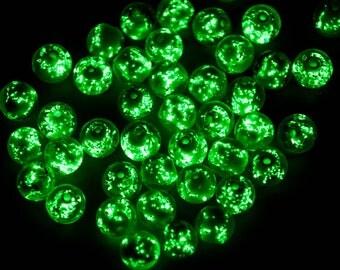 Glow in The Dark  Beads, 20pcs, 9-10mm, Round  Luminous Beads, Glass Beads -B1052