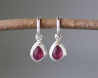 Ruby Earrings - Ruby Jewelry - Silver Post Earrings - Ruby and Silver - Red Gemstones - Silver Hoop Earrings - July Birthstone - Gift