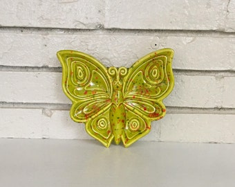 Vintage Chartreuse Green Red Splatter Butterfly Ceramic Pottery Dish // 1970s Wall Hanging