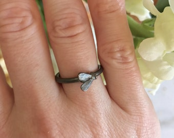 Tiny Fly Stackable Little Insect Ring in Oxidized Sterling Silver