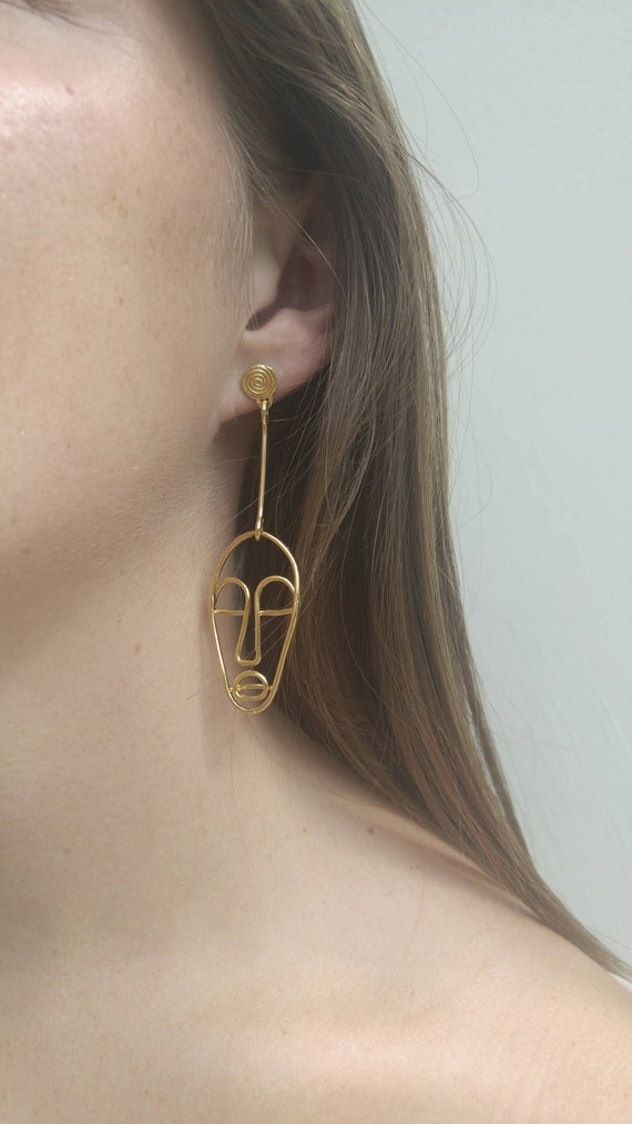 Line Drawing Face Earrings : Wire face earrings earring line jewelry