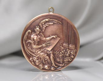 French Angel Artist Draftsman draughtsman Medal Pendant Raw Brass Gold Toned 1 Piece