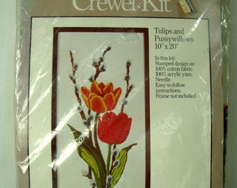 Tulips Pussywillows Crewel Kit Unopened 1977 Caron NIP