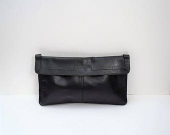 Vintage 1970s Black Leather Envelope Clutch Bag Purse