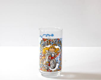 Vintage Miss Piggy Collectible Glass - Miss Piggy on a Motorcycle - The Great Muppet Caper - McDonald's Collectible Glass - Henson 1981