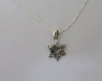 Pretty Star of David Sterling Silver Necklace, Star Pendant, Star Charm, Simple Jewish Star of David Necklace, Sterling Silver Chain