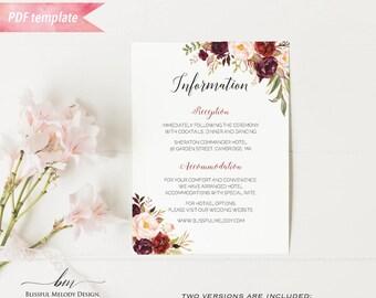 Printable Burgundy Floral Information Card, Editable PDF Template, Rustic Boho Wedding Details Card, vistaprint, DIY Instant Download #01
