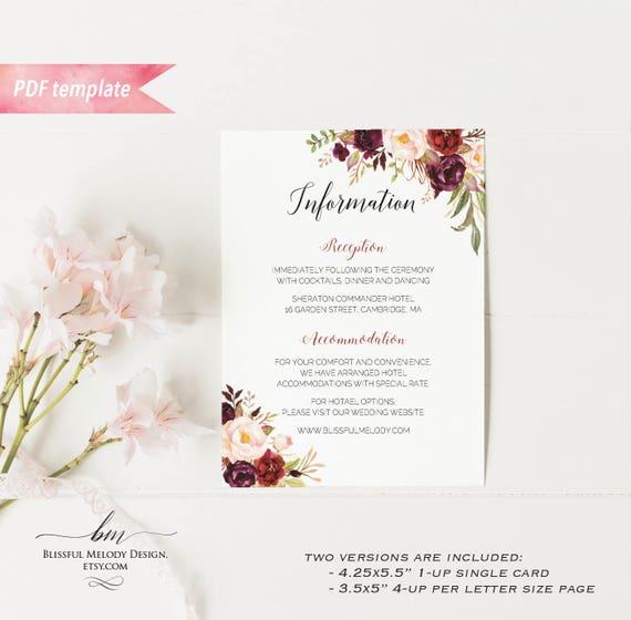 Printable burgundy floral information card editable pdf template il570xn stopboris Gallery