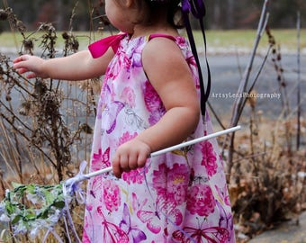 New! Little Girls Easter Dress - Butterfly Dress in Pink, Purple & White - Pink Pillowcase Dress - Size 12m, 18m, 2T, 3T, 4T, 5, 6, 8, or 10
