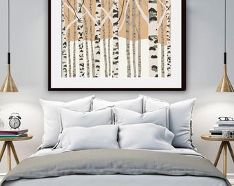 Birch Trees (A) Art Print (Featured in Rust) Nature Inspired Art Prints / Woodland Wall Art