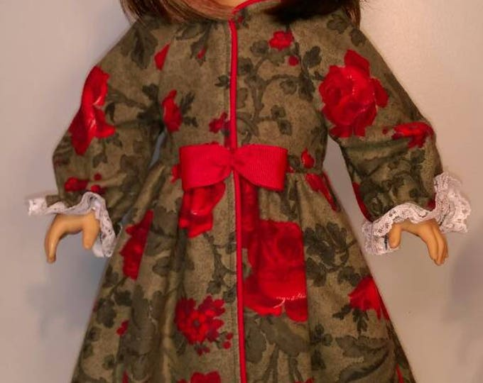 Rose print flannel bathrobe fits 18 inch dolls