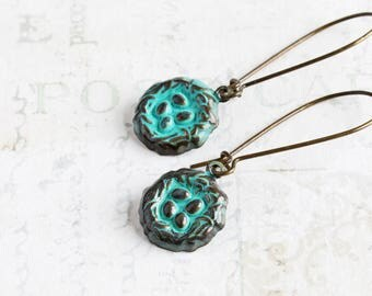 Teal Earrings, Small Bird Nest Earrings on Antiqued Brass Hooks, Patina Earrings, Blue Dangle Earrings, Gifts for Her, Spring Jewelry