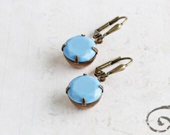 Chalk Blue Round Rhinestone Dangle Earrings on Antiqued Brass Hooks (Leverback or Fishhook)