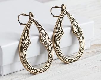 Large Antiqued Brass Plated Keyhole Teardrop Dangle Earrings