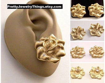Satin Rose Soft Soft Petal Clip On or Pierced Post Earrings Gold Vintage Avon 1992 Large Detailed Scallop Edge Round Layered Big Buttons