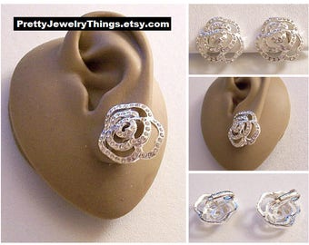 Avon Crystal Band Flower Clip On Earrings Silver Tone Vintage Open Flat Swirl Rib Scallop Layered Edges