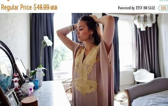 Kaftan Autumn Dress 25% OFF SALE Beige Marrakech Resort Caftan-beach cover ups,resortwear,loungewear, maxi dress, beach kaftan, winter dress