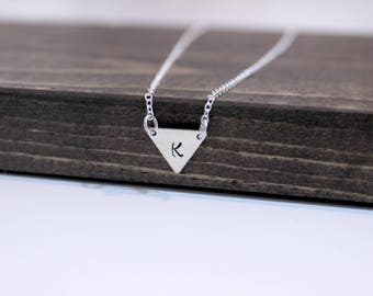 Hand Stamped Sterling Silver Triangle with Initial Necklace, Stamped Triangle Necklace, Geometric Necklace, Initial Necklace