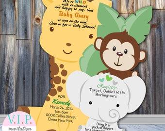 Jungle Baby Shower Invitation, Boy Giraffe Shower Invitation, Safari Baby Shower Invitation, Giraffe, Animal Theme, Girl, Gender Neutral
