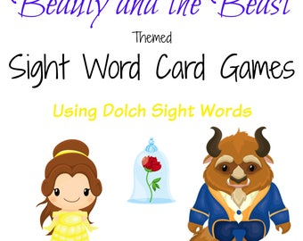Beauty and the Beast Themed Sight Word Card Games - Dolch Sight Words