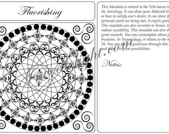 DOWNLOADABLE  Mandala ~ Color and Fill, Great for Inspiration, Astrology