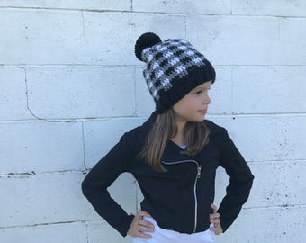 Grey Plaid crochet hat, fits 6 months to womens, grey and black plaid, pom pom, slouchy hat, Winter Beanie, Photo Prop