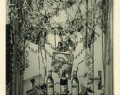 "Vintage Photo ""The Party Corner"" Snapshot Photograph Paper Ephemera Find Party Decoration Alcohol Bottle Festive Celebration Odd Weird - 41"