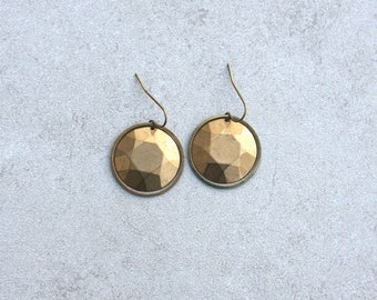 Punched Brass Faceted Dangle Earrings // Geometric Jewelry // Hoop and Drop Earring // Gift for Her // Festival Wear //