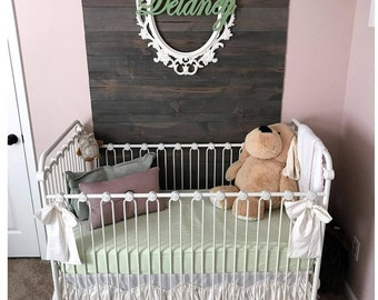 Signature Nursery Set: Triple Ruffle Wave Kami Crib Skirt, 1 Pair of Kami Wave Panels. 1 Rail Cover. All In 100% Cotton Kona