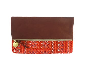 Foldover Clutch - Hand Embroidered Orange Tribal Blanket + Cognac Brown Leather