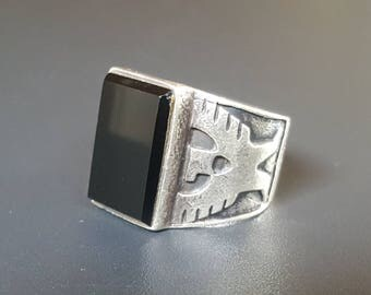 Mens Onyx Eagle Ring Sterling Silver Size 11 Aztec Eagle