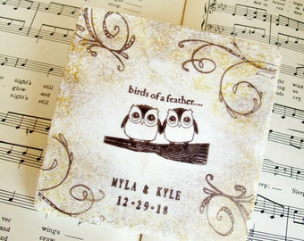 Owl Coasters, Personalized Wedding Coasters,Two Owls Wedding Coasters,Gift for Couples,Stone Coasters,Antiqued Edges in Gold and Espresso
