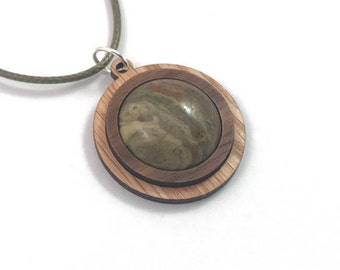 Unakite and Wood Simple Circle Pendant - Natural Sustainable Wooden Necklace with 20mm Genuine Gemstone - Walnut on Oak