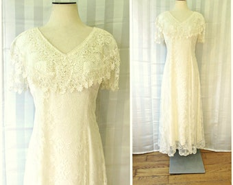 Vintage Lace Dress Maxi 36 Bust Ivory White Short Sleeve Wedding Gown 1970s 1980s M Medium