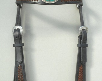 Natural Turquoise and Braid Headstall