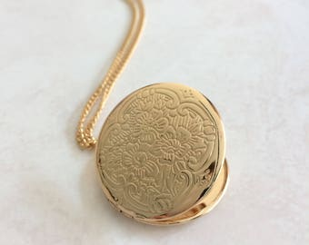 Floral Engraved Locket, Gold Necklace, Layering Jewelry, Decorative Pendant
