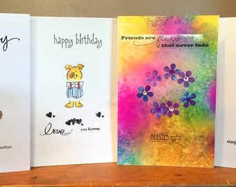 PACK of 4, Greetings Cards,  Kid's Birthday Cards, Animal Cards, Children's Card, Birthday Cards, Friend's Card, Puppy, Kitty, Teddy Bear